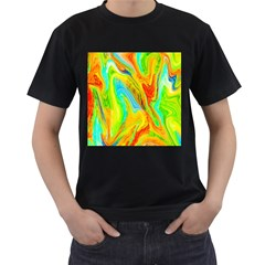 Happy Multicolor Painting Men s T Shirt (black) (two Sided) by designworld65