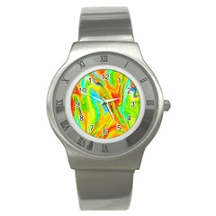 Happy Multicolor Painting Stainless Steel Watch by designworld65
