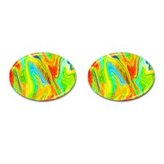 Happy Multicolor Painting Cufflinks (oval) by designworld65