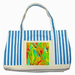 Happy Multicolor Painting Striped Blue Tote Bag by designworld65