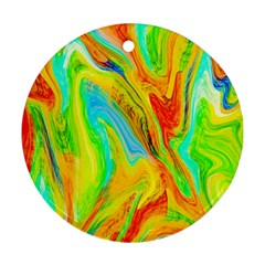 Happy Multicolor Painting Round Ornament (two Sides)  by designworld65
