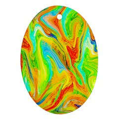 Happy Multicolor Painting Oval Ornament (two Sides) by designworld65
