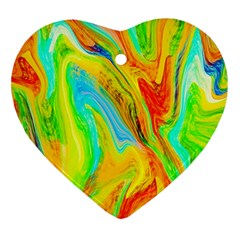 Happy Multicolor Painting Heart Ornament (2 Sides) by designworld65