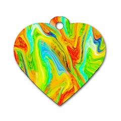 Happy Multicolor Painting Dog Tag Heart (two Sides) by designworld65