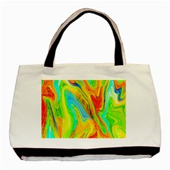Happy Multicolor Painting Basic Tote Bag (two Sides) by designworld65