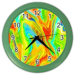 Happy Multicolor Painting Color Wall Clocks by designworld65