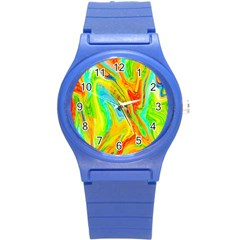 Happy Multicolor Painting Round Plastic Sport Watch (s) by designworld65