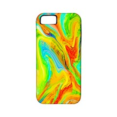 Happy Multicolor Painting Apple Iphone 5 Classic Hardshell Case (pc+silicone) by designworld65