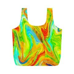 Happy Multicolor Painting Full Print Recycle Bags (m)  by designworld65