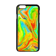 Happy Multicolor Painting Apple Iphone 6/6s Black Enamel Case by designworld65