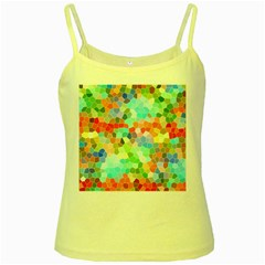 Colorful Mosaic  Yellow Spaghetti Tank by designworld65