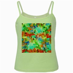 Colorful Mosaic  Green Spaghetti Tank by designworld65