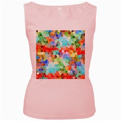 Colorful Mosaic  Women s Pink Tank Top by designworld65