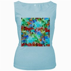 Colorful Mosaic  Women s Baby Blue Tank Top by designworld65
