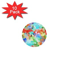 Colorful Mosaic  1  Mini Buttons (10 Pack)  by designworld65
