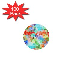 Colorful Mosaic  1  Mini Buttons (100 Pack)  by designworld65