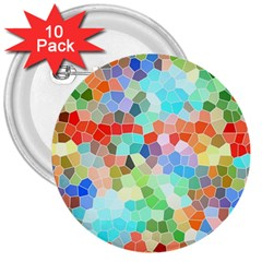 Colorful Mosaic  3  Buttons (10 pack)