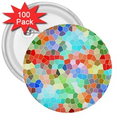 Colorful Mosaic  3  Buttons (100 Pack)  by designworld65
