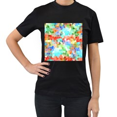 Colorful Mosaic  Women s T Shirt (black) (two Sided) by designworld65