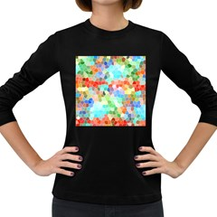 Colorful Mosaic  Women s Long Sleeve Dark T Shirts by designworld65