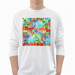 Colorful Mosaic  White Long Sleeve T Shirts by designworld65