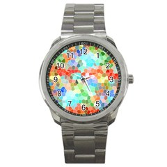 Colorful Mosaic  Sport Metal Watch by designworld65