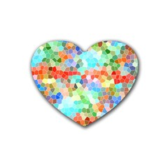 Colorful Mosaic  Rubber Coaster (Heart)