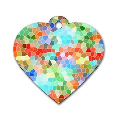 Colorful Mosaic  Dog Tag Heart (one Side) by designworld65