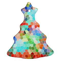 Colorful Mosaic  Christmas Tree Ornament (2 Sides) by designworld65