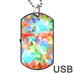 Colorful Mosaic  Dog Tag Usb Flash (one Side) by designworld65