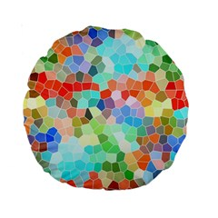 Colorful Mosaic  Standard 15  Premium Round Cushions by designworld65
