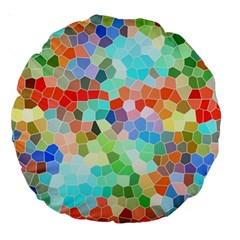 Colorful Mosaic  Large 18  Premium Round Cushions by designworld65