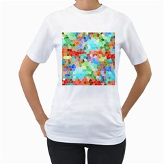 Colorful Mosaic  Women s T Shirt (white)  by designworld65