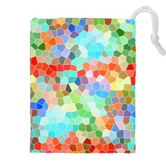 Colorful Mosaic  Drawstring Pouches (xxl) by designworld65