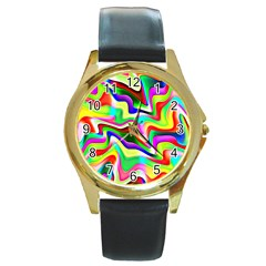 Irritation Colorful Dream Round Gold Metal Watch