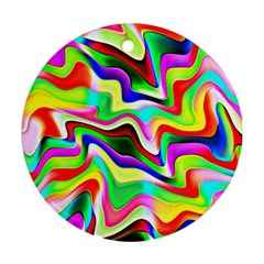 Irritation Colorful Dream Round Ornament (two Sides)  by designworld65
