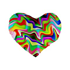 Irritation Colorful Dream Standard 16  Premium Flano Heart Shape Cushions