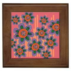 Colorful Floral Dream Framed Tiles by DanaeStudio