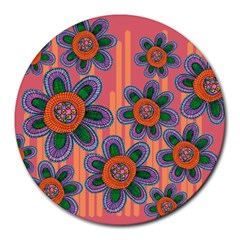 Colorful Floral Dream Round Mousepads