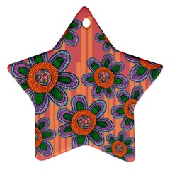 Colorful Floral Dream Ornament (star)  by DanaeStudio
