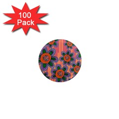 Colorful Floral Dream 1  Mini Magnets (100 pack)