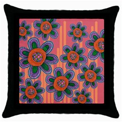 Colorful Floral Dream Throw Pillow Case (Black)