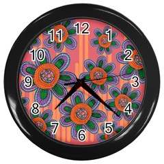 Colorful Floral Dream Wall Clocks (Black)