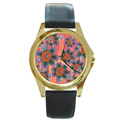 Colorful Floral Dream Round Gold Metal Watch