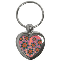 Colorful Floral Dream Key Chains (heart)  by DanaeStudio