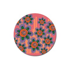 Colorful Floral Dream Magnet 3  (Round)