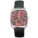 Colorful Floral Dream Square Metal Watch Front