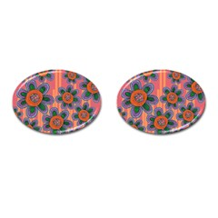 Colorful Floral Dream Cufflinks (Oval)