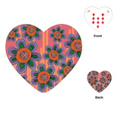 Colorful Floral Dream Playing Cards (heart)  by DanaeStudio