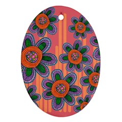 Colorful Floral Dream Oval Ornament (Two Sides)